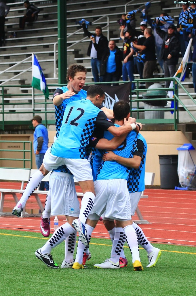 V2FC players and supporters celebrate a goal in the historic home opener in 2014. (Bradley York)
